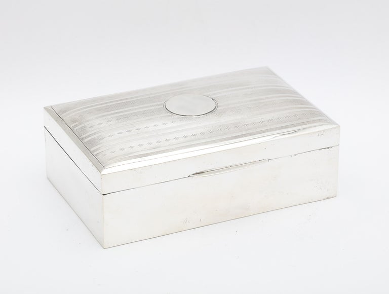 Edwardian, sterling silver table box with hinged lid and wood lining, Chester, England, 1913, Colen Hewer Cheshire - maker. Measures 5 1/2 inches wide x over 3 1/2 inches deep x 2 1/2 inches high at highest point of slightly domed lid. Vacant