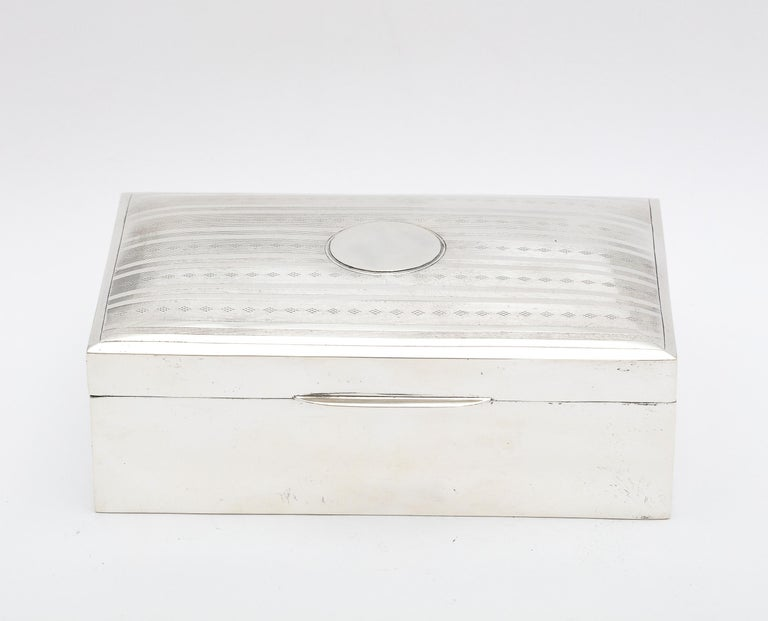 English Edwardian Sterling Silver Table Box with Hinged Lid For Sale