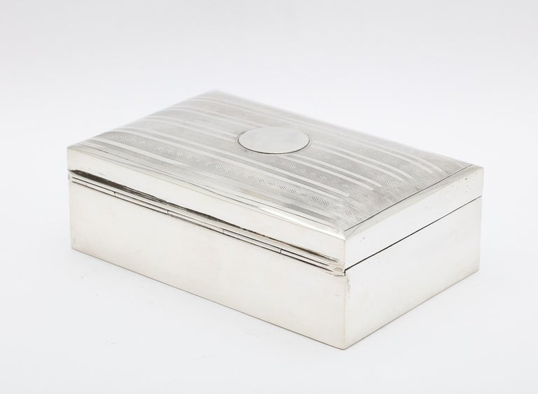 Early 20th Century Edwardian Sterling Silver Table Box with Hinged Lid For Sale
