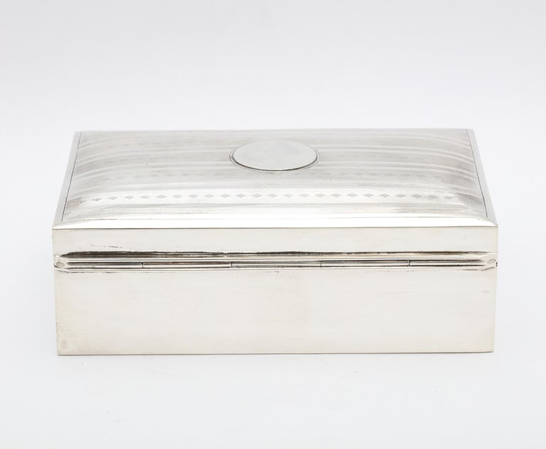 Edwardian Sterling Silver Table Box with Hinged Lid For Sale 1