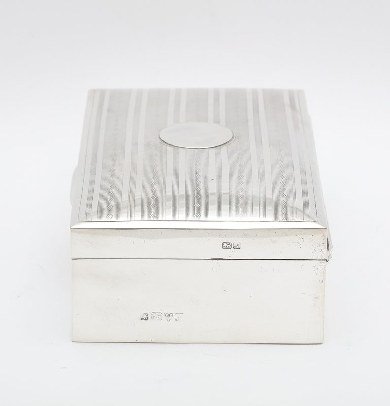 Edwardian Sterling Silver Table Box with Hinged Lid For Sale 3