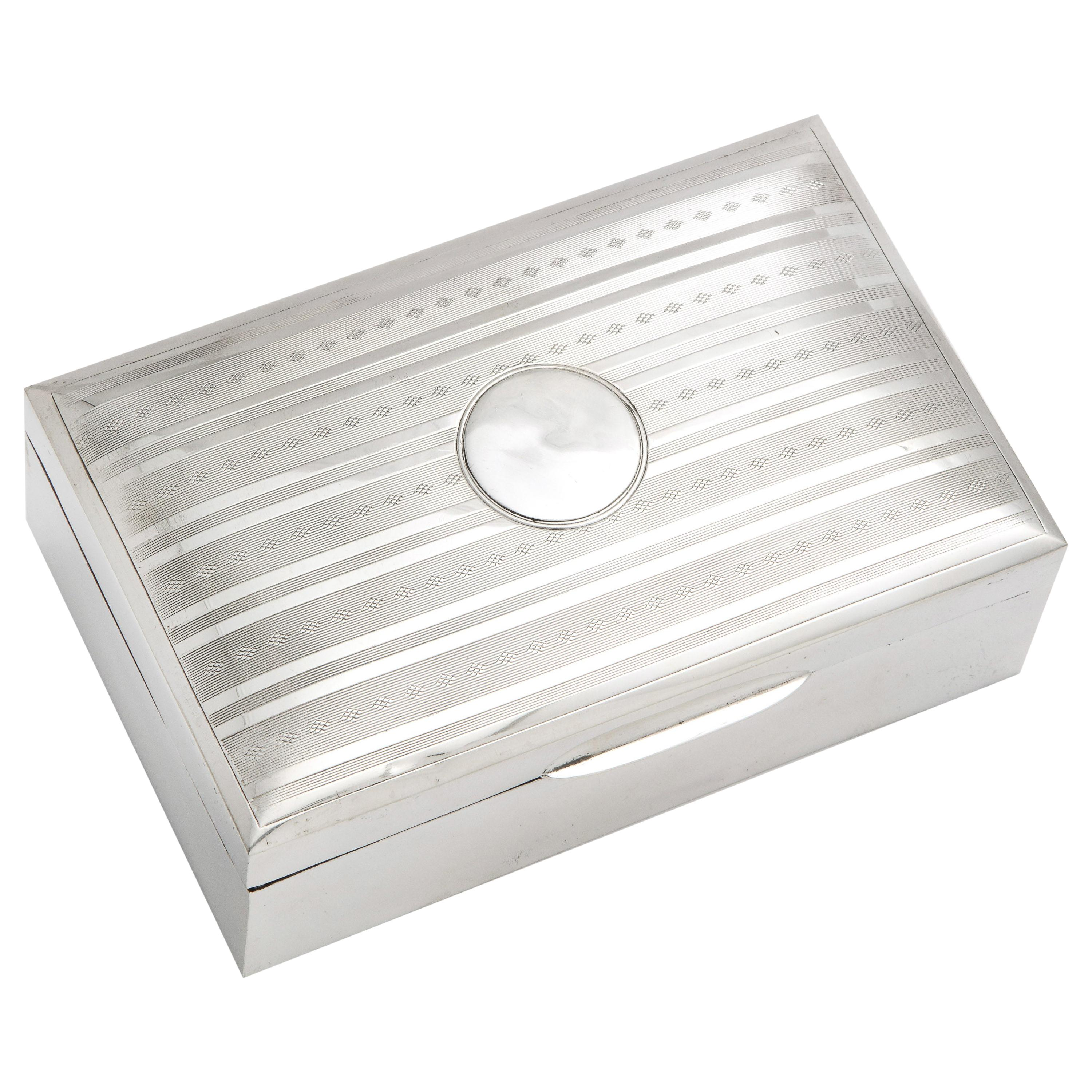 Edwardian Sterling Silver Table Box with Hinged Lid