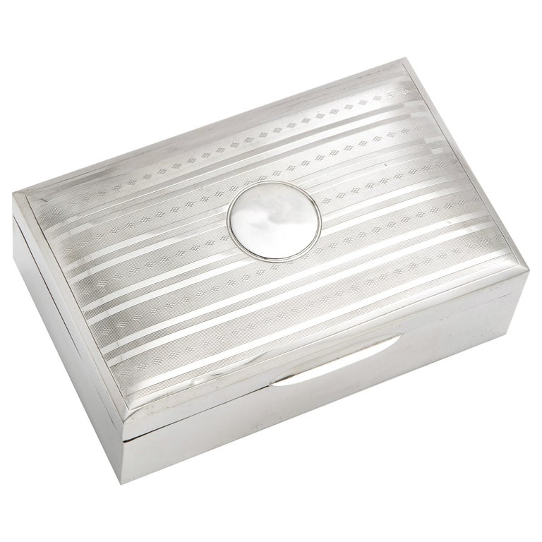 Edwardian Sterling Silver Table Box with Hinged Lid For Sale