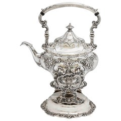 Edwardian Sterling Silver Tea Kettle on Stand by Gorham