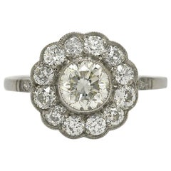 Edwardian Style 1.50 Diamond Floral Cluster Halo Platinum Flower Engagement Ring