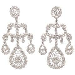 Edwardian Style 3.06ct Round Diamond Chandelier Earrings 18k White Gold