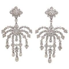 Edwardian Style 3.66ct Round Diamond Chandelier Earrings 18k White Gold