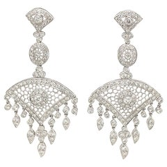 Edwardian Style 3.92ct Diamond Chandelier Earrings 18k White Gold