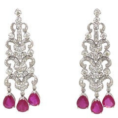 Edwardian Style 7.12ct Ruby with Diamond Chandelier Earrings 18k White Gold