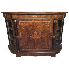Edwardian Style Antique Cabinet, 19th Century Burled Walnut with Marquetry