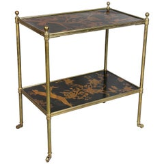 Edwardian Style Black Lacquer and Brass Table