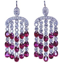 Edwardian Style Burma Ruby and Diamond 18 Karat White Gold Earrings