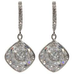 Edwardian Style Cushion CZ Bottoms Diamond Tops Sterling Jewelry Earrings