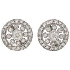 Edwardian Style Diamond Cluster Earrings Set in 18 Karat White Gold