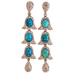 Edwardian Style of Opal and Diamond Earrings