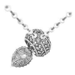 Edwardian Style Oval Diamond Open Pendant Locket Necklace, Chavana Collection