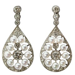 Edwardian Style Pearl and Diamond 18 Karat White Gold Earrings