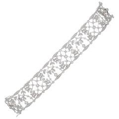 Edwardian Style Platinum Diamond Lace Bracelet