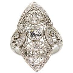Edwardian Style Platinum Diamonds Ring