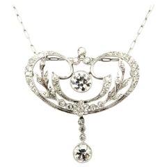 Edwardian Style Platinum Old European Cut Diamond Flower Pendant Necklace