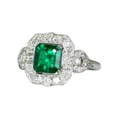 Edwardian Style Rare AGL Certified No Oil Colombian Emerald and Diamond Ring