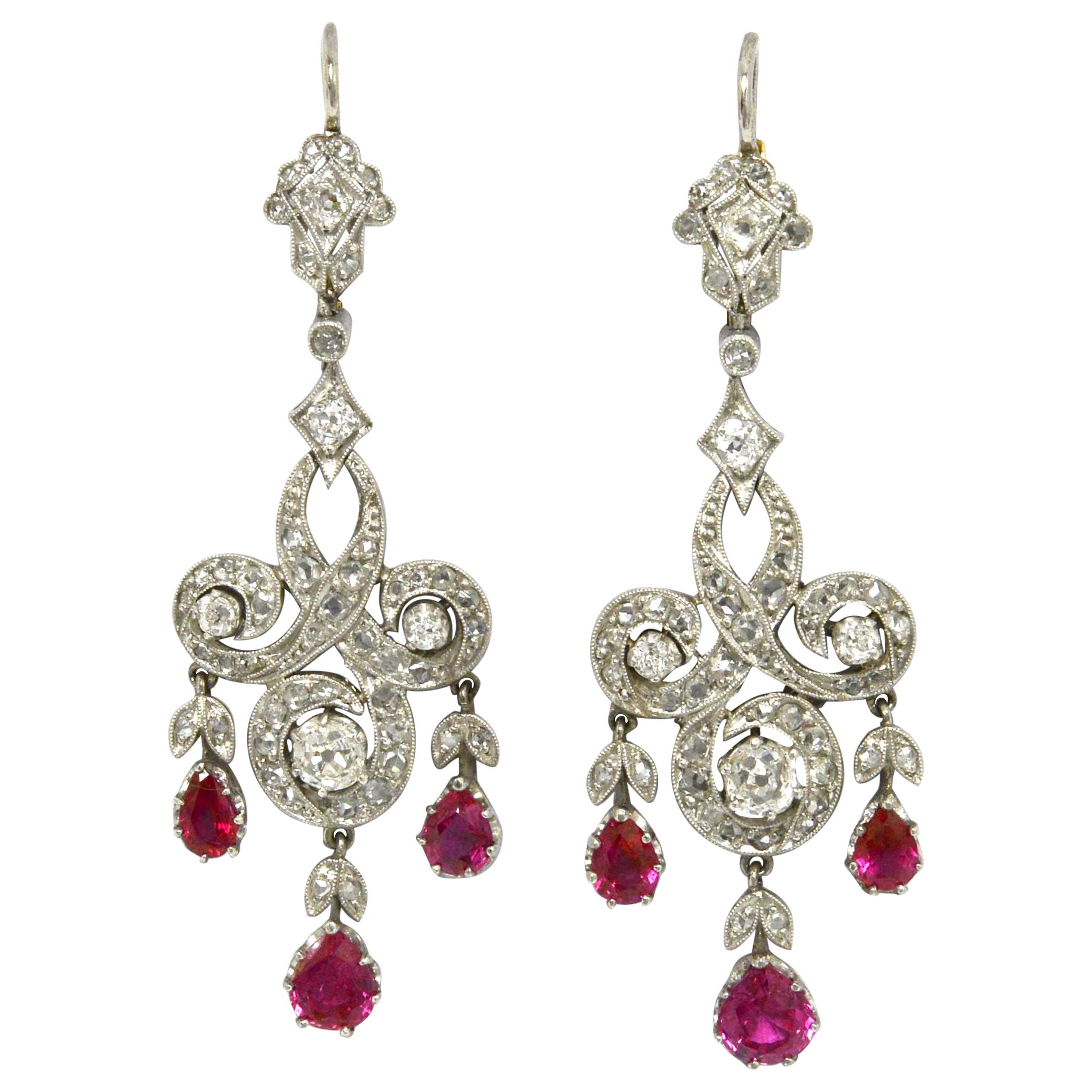 Edwardian Style Ruby Diamond Chandelier Earrings Drop Dangle Platinum Lever Back