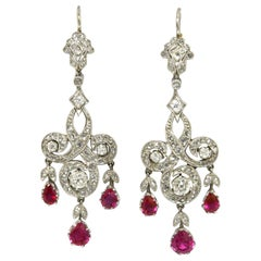 Edwardian Style Ruby Diamond Chandelier Earrings Drop Dangle Platinum Lever Back