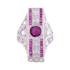 Edwardian Style Ruby Diamond Platinum Ring