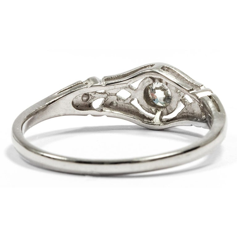 Edwardian Engagement Rings For Sale: Edwardian Style Unworn Platinum Filigree Brilliant Cut