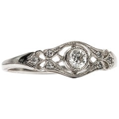 Edwardian Style Unworn Platinum Filigree Brilliant Cut Diamond Engagement Ring