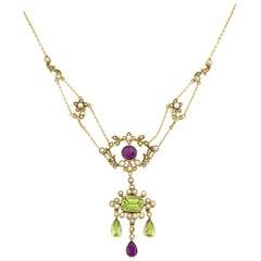Edwardian Suffragette Lavaliere Necklace