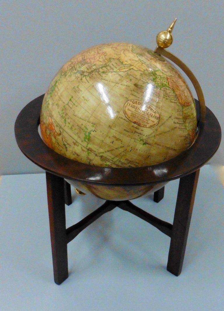 Edwardian terrestrial Geographia tabletop globe.