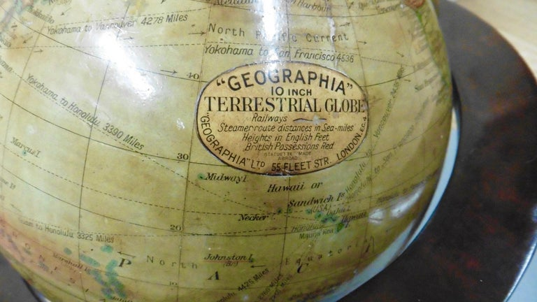 Edwardian Terrestrial Geographia Tabletop Globe In Good Condition For Sale In Norwich, GB