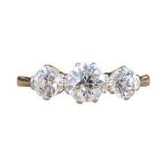 Edwardian Three Stone Diamond Ring set in 18ct Yellow Gold