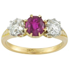 Edwardian Three-Stone Ruby and Diamond Ring