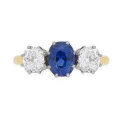 Edwardian Three-Stone Sapphire and Diamond Engagement, circa 1910