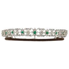 Edwardian Tiara Necklace and Bracelets with Emerald Diamond and Platinum, Circa