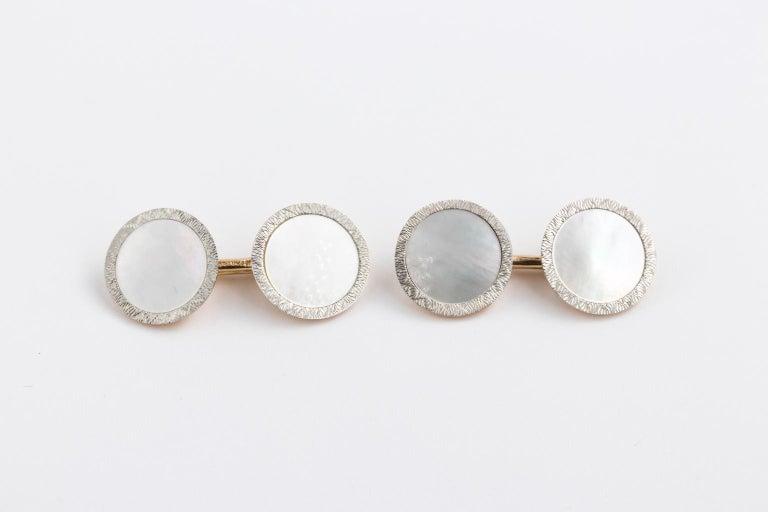 Victorian Edwardian Tiffany & Co. 14 Karat Platinum Cufflinks and Shirt Studs Set in a Box For Sale
