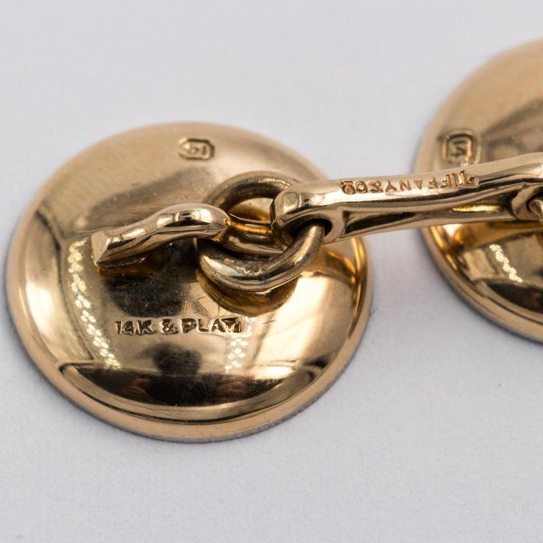 Edwardian Tiffany & Co. 14 Karat Platinum Cufflinks and Shirt Studs Set in a Box For Sale 1