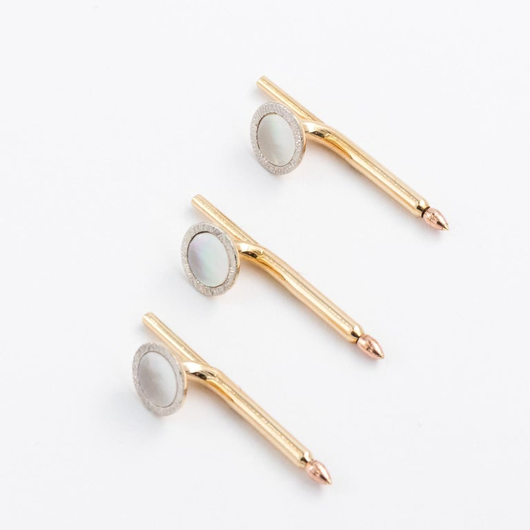 Edwardian Tiffany & Co. 14 Karat Platinum Cufflinks and Shirt Studs Set in a Box For Sale 3