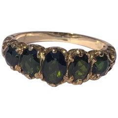 Edwardian Tourmaline and 9 Carat Gold Five-Stone Ring