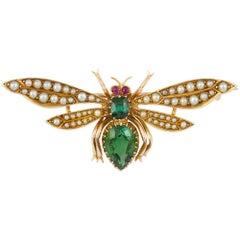 Edwardian Tourmaline and Pearl Bee Brooch