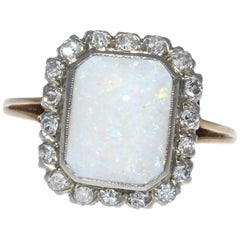 Edwardian Tow-Tone Opal Diamond 10 Karat Gold Ring