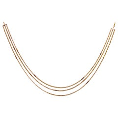 Edwardian Triple Chain 9 Carat Gold Necklace