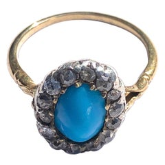 Edwardian Turquoise and Diamond 18 Carat Gold Cluster Ring