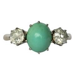 Edwardian Turquoise and Diamond 18 Carat Gold Three-Stone Ring