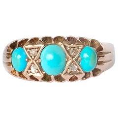 Edwardian Turquoise and Diamond 9 Carat Gold Three-Stone Ring