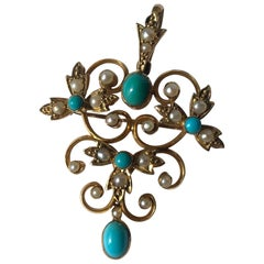 Edwardian Turquoise and Pearl 15 Carat Gold Pendant Brooch