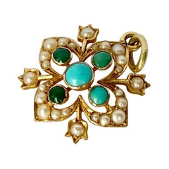 Edwardian Turquoise and Pearl 15 Carat Gold Pendant