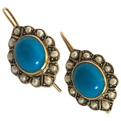 Edwardian Turquoise and Pearl 9 Carat Gold Cluster Earrings